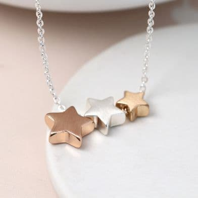 POM Triple Mixed Star Necklace With Brushed Finish